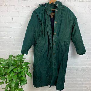Eddie Bauer 1/3 Sleeve Hooded Trench Coat Green
